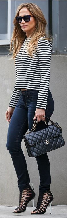 Jennifer Lopez - find a jeans that fits you like a dream and pair with horizontal stripes to balance width