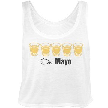 Tequila De Mayo Tank | What is Cinco De Mayo without the tequila shots?! This is a super cute crop top for your day of the dead celebrations! Cinco shots of tequila will make you feel like you are on top of the world.