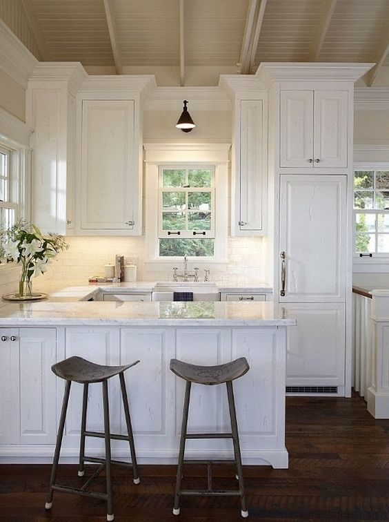 Dark Wood Floors Kitchen Styling Small Cottage White Kitchens