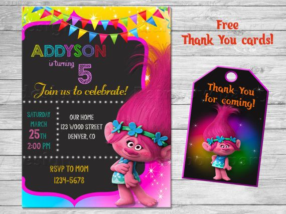 Hey, I found this really awesome Etsy listing at https://www.etsy.com/listing/506068330/trolls-birthday-invitation-thank-you