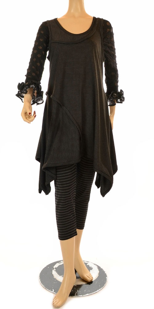 Hebbeding Exclusive Collection Anthracite Stripe Asymmetric Tunic-Hebbeding, lagenlook,