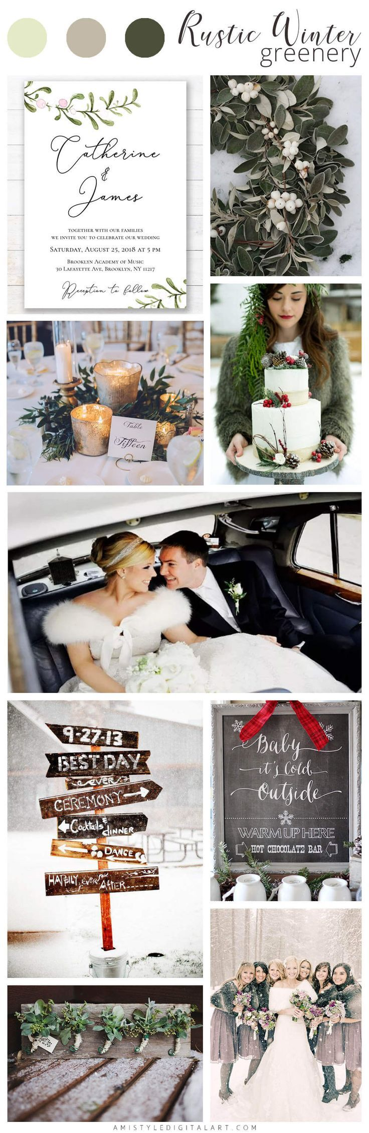Rustic Winter Greenery Wedding Color Board by Amistyle Digital Art