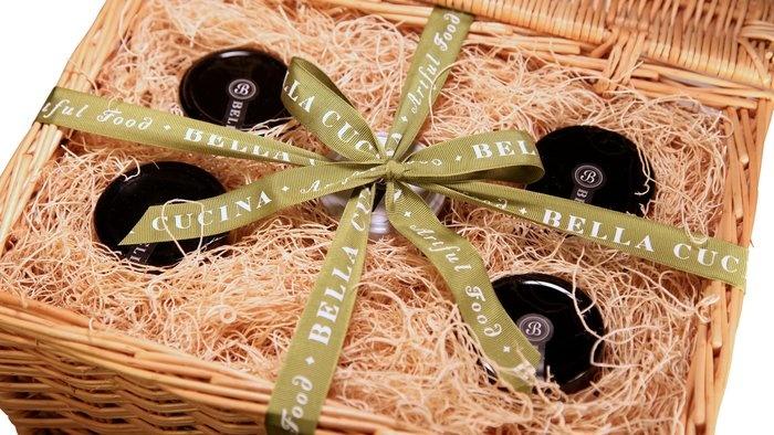 Basket of organic gourmet spreads.