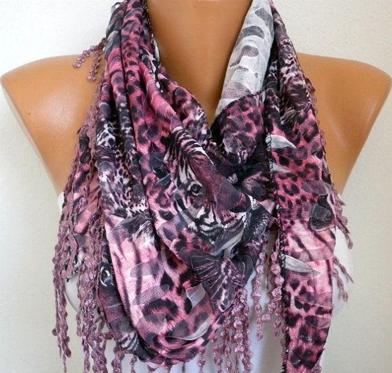 : Leopard Print, Lace Edge, Leopard Scarf, Cowl Scarf, Pink Leopard, Scarfs, Cowls