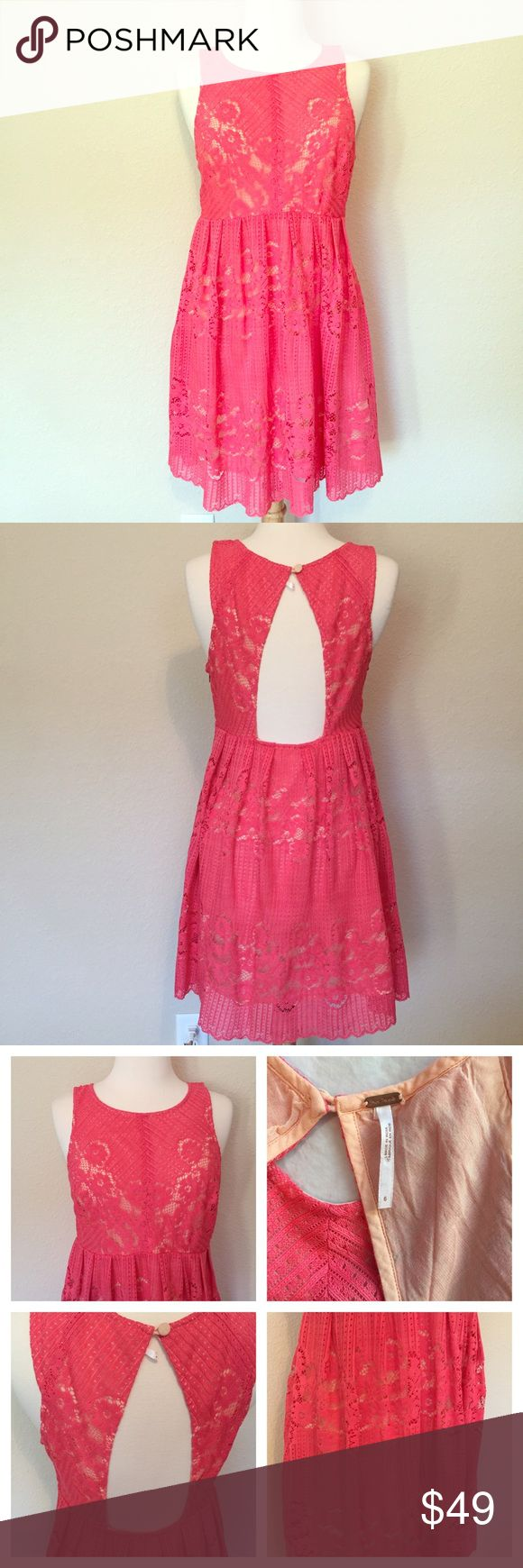 {Free People} Pink Lace Dress Keyhole Back Dress Adorable dress in excellent condition. Size 6. Bust: 34, waist: 30, length: 33. Side zip. Great for baby showers, weddings, and other more formal events :). No trades please, offers below 60% will be ignored and user will be blocked; Let's keep posh kind and respectful :) Free People Dresses Mini