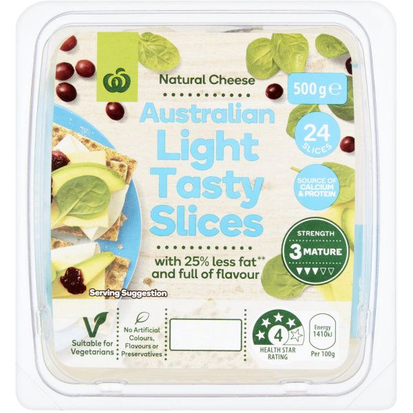 Woolworths Tasty Light Cheese Slices 500g Tasty Natural Cheese Vegetarian Health
