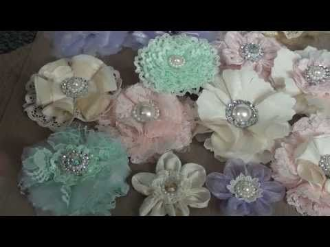 Handmade shabby chic Flowers NOT A TUTORIAL - ideas for embellishing boxes, clothes, bags with ribbon/lace/organza flowers and pearls.
