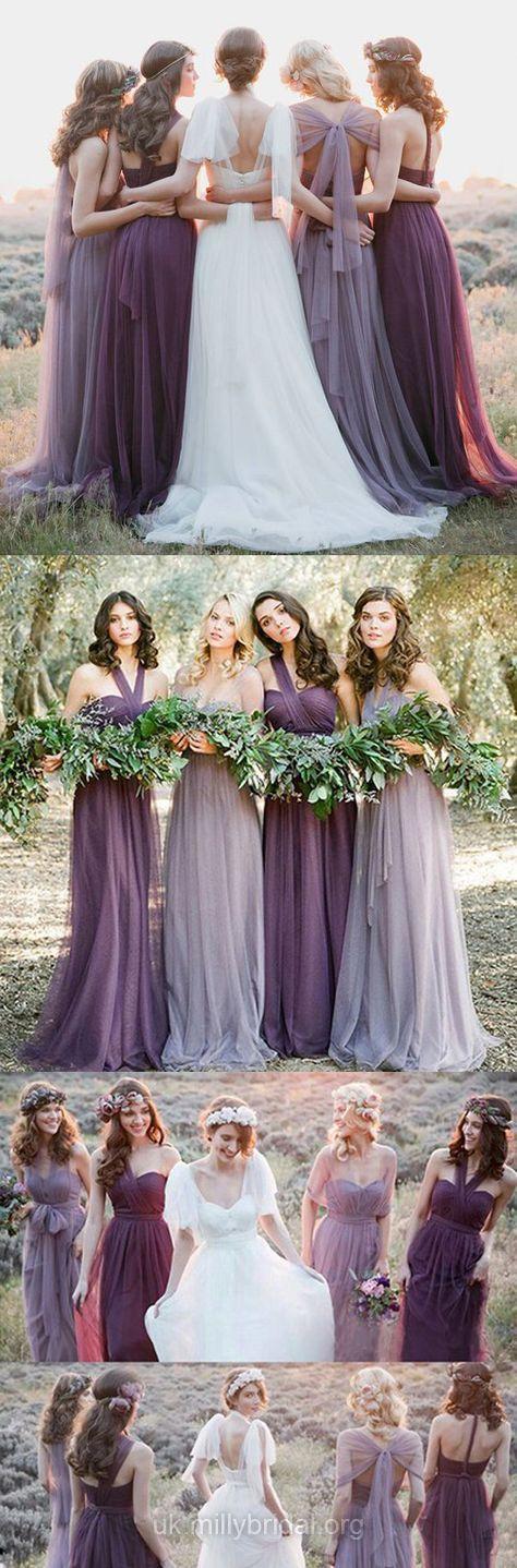 Halter Bridesmaid Dresses Purple, Long Bridesmaid Dresses Modest, Simple Bridesmaid Dress Unique