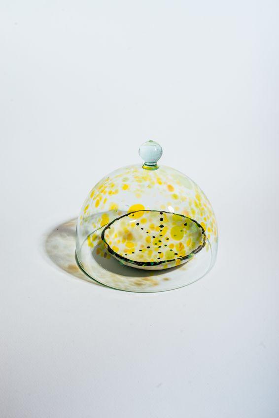 Handmade glass dinnerware by Haluzka Roksolana Hudoba. Glass cap for homemade cookies or unique cafe design.