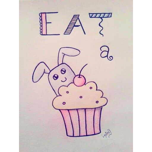 #eat #a #cupcake #cutty #bunnie #cherry #drawing #pencil #art