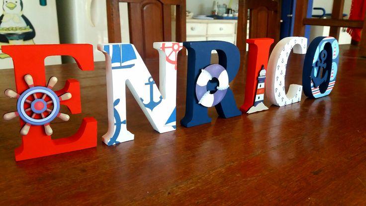 Letras Decorativas de Madeira  Www.facebook.com/palavraseletrasdecorativas   Tema Marinheiro