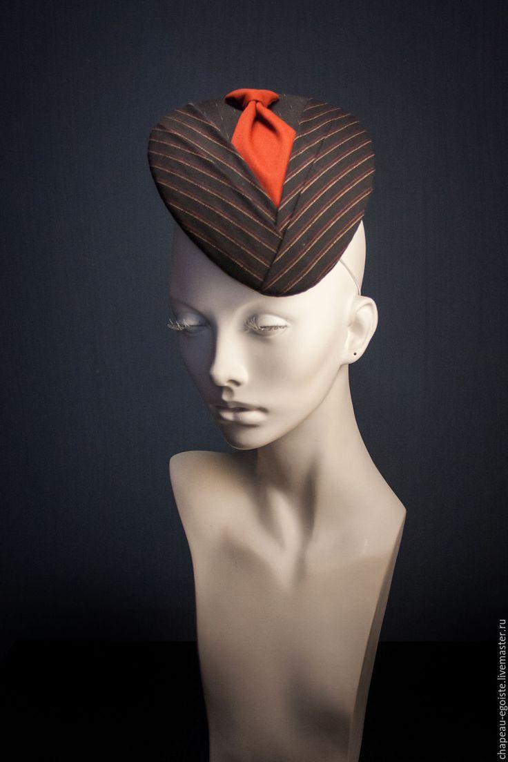 Extraordinary formal hat / Купить Берет Галстук - светлана гуляева, chapeau egoiste, шляпка для скачек, вечерняя шляпка