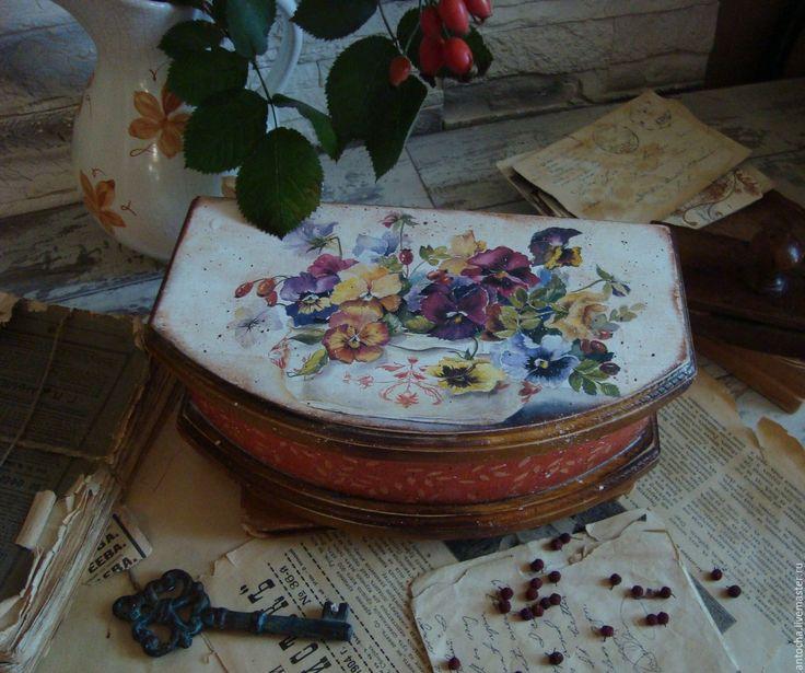 """Купить Шкатулка """"Анютки"""" - комбинированный, шкатулка, ретро, лето, загородный дом, винтаж, подарок, для хранения"""