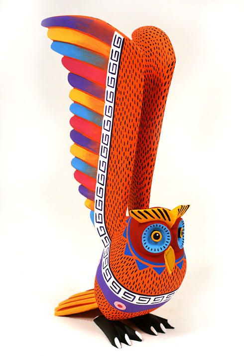 Oaxacan Wood Carvings Gallery Luis Pablo Spectacular Owl
