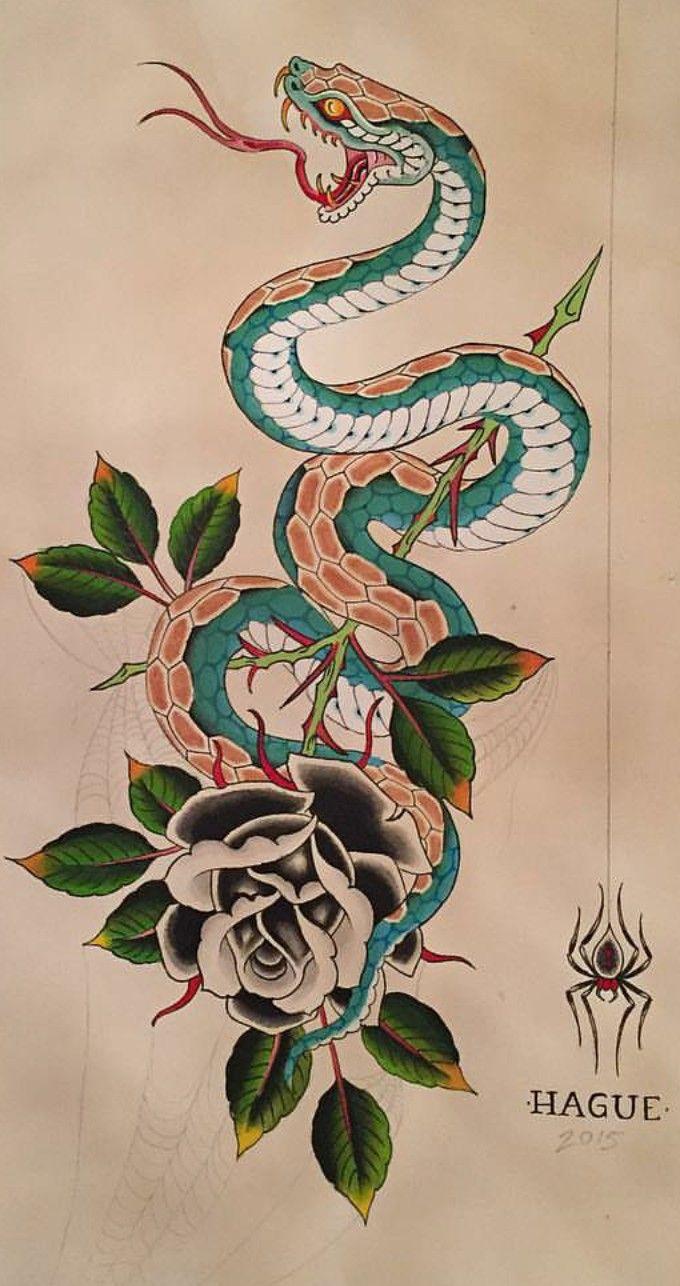 Snake And Rose Japanese Snake Tattoo Snake Tattoo Design Traditional Snake Tattoo
