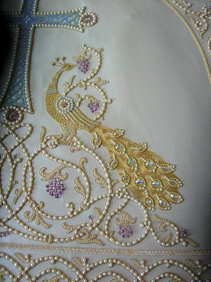 beautiful Russian Embroidered altar cloth. white, silver and pearls