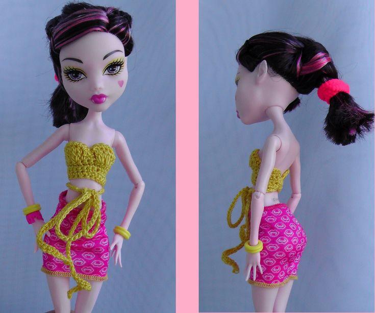 Как вязать ТОПИК для куклы Монстр Хай. Knitted blouse crochet doll Monst...