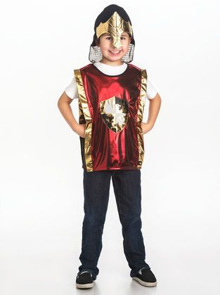 Your child will be ready for his quest in this newly designed Red Knight Vest and Gold Helmet Set.