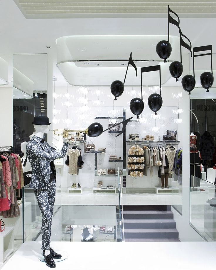 "Moschino boutique in Milan, Via della Spiga 30 - January 2012 window display - Theme: ""Music notes"""