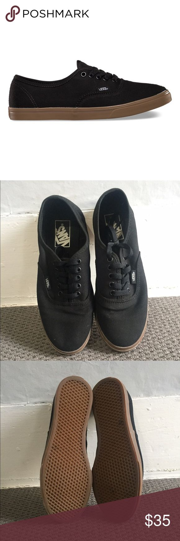 ☠️Black Thin Soled Vans☠️ Black thin soled vans with gum sole. Worn once, can see usage in the picture. READ INFO BELOW!!! No trades, all sales are final.   Always willing to negotiate prices, make me an offer!   Bundles of 3 or more are 10% off!!!   I ship between 2-3 days based on my work/ school schedule and the lack of a home printer.  All items come from a smoke free home!   Feel free to ask anymore questions you have(: Vans Shoes Sneakers