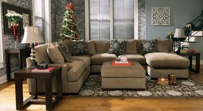 Ashley Furn Grenada Mocha Sectional. Like the colors and the end tables/console table