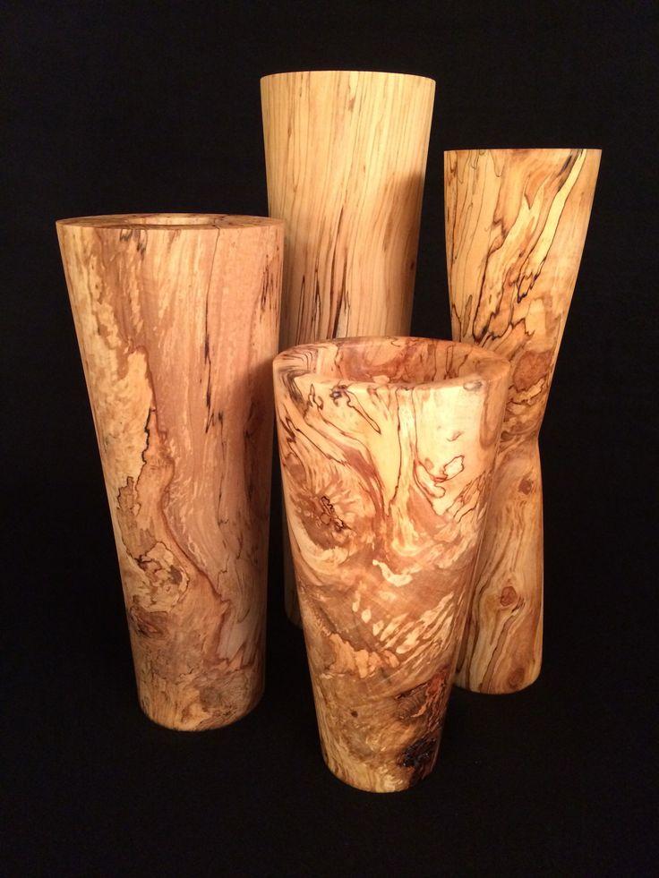 Hand-turned wood vases