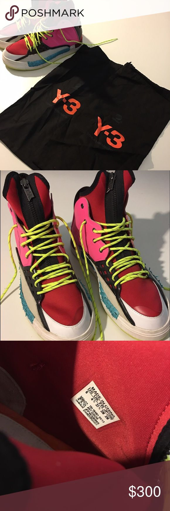 Y-3 Womans High-top Sneaker Slightly used Y-3 High-Top sneaker. Colorful, zipper, marine fabric, flat and cozy. Y-3 Shoes Sneakers