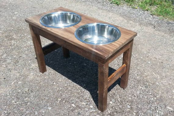 raised dog feeder / raised pet feeder / by JulieEvesWoodworking