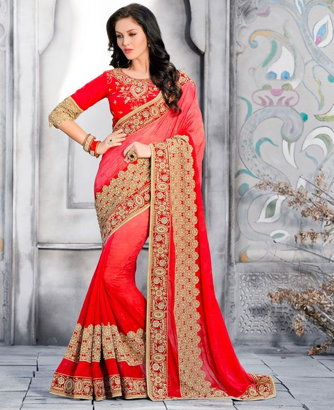 Buy Fascinating Red Fashion Sarees online at  https://www.a1designerwear.com/fascinating-red-fashion-sarees  Price: $97.63 USD