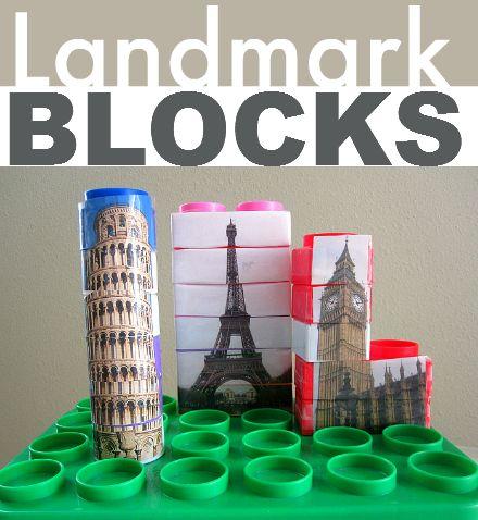 So cool - turn plain old blocks into famous landmarks! Great for block center in preschool.