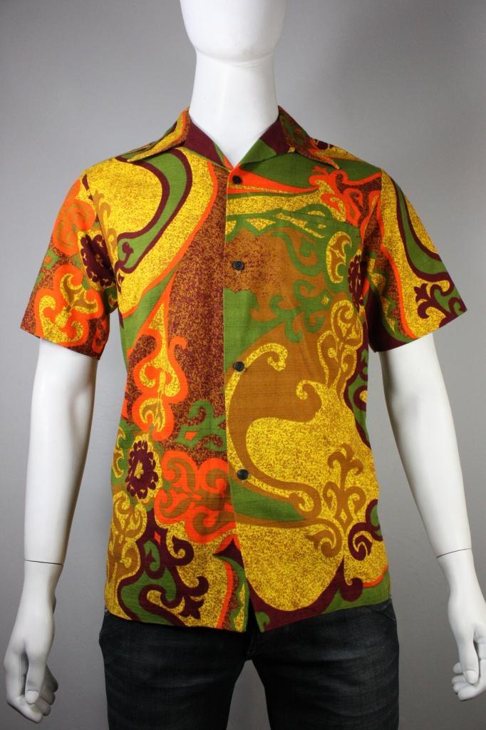 27be5ab755b Vintage Mens 60 s 70 s Cotton Short Sleeved HAWAIIAN HAWAII Shirt Medium
