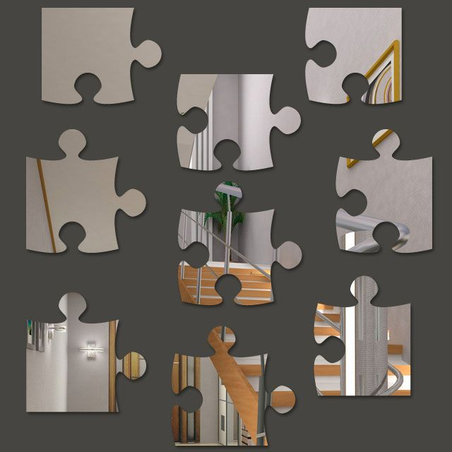 Espelho Decorativo em Acrílico Quebra Cabeça
