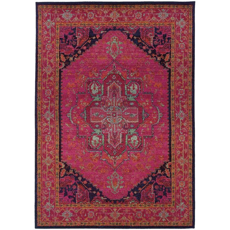 "Amazon.com: Distressed / Vintage Inspired Rug, Pink Southwestern Tribal Non-Shed Living Room Carpet, 5' 3"" X 7' 6"" (5x8): Kitchen & Dining"