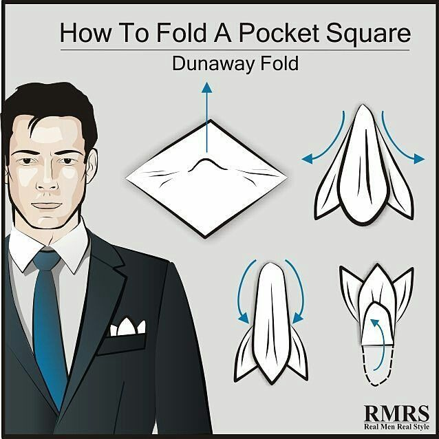 Step up your business casual style with the Dunaway fold.  Have you tried this pocket square fold?  #pocketsquare #menwithclass #menfashion #instafashion #menswear #infographic #styleguide #men