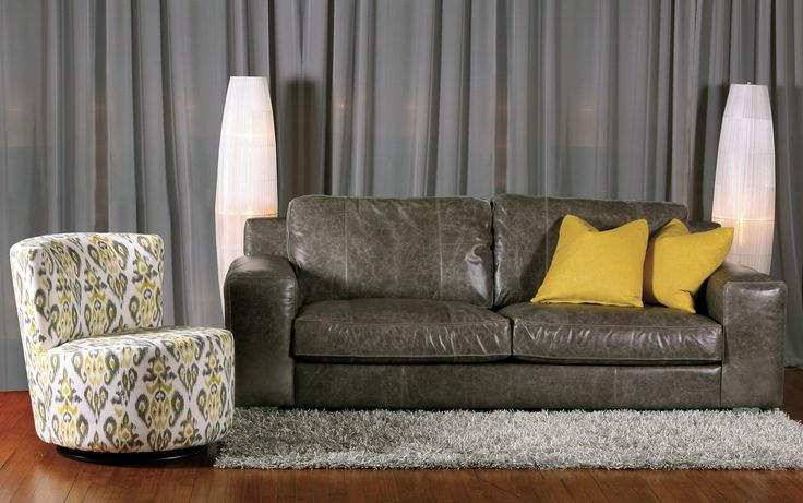 NEW Eclipse Sofa in grey leather with the Swivel chair 503 by Jaymar. Made in Canada.