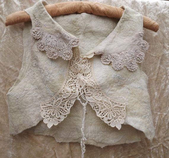 Nuno Filz Lace Bolero Vintage Lace Bolero Vintage Lace von folkowl