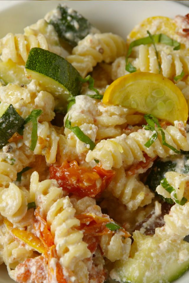 Summer Vegetable Primavera Video shows cherry tomatoes & looks like abut 1/2 C parmesan. Sprinkle veggies with thyme before roasting.