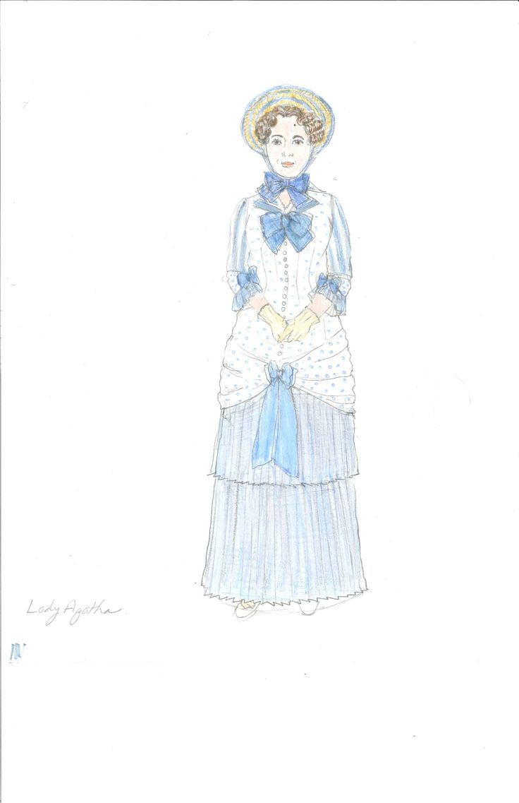 Lady Agatha's Act 1 costume, sketched by Meg Neville