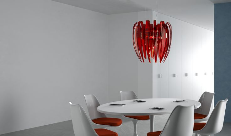 Dracena design by Diego Chilò for Leucos. Two sizes hanging consisting of leaves in hand-stretched glass in three colours: silk white, amber and red.