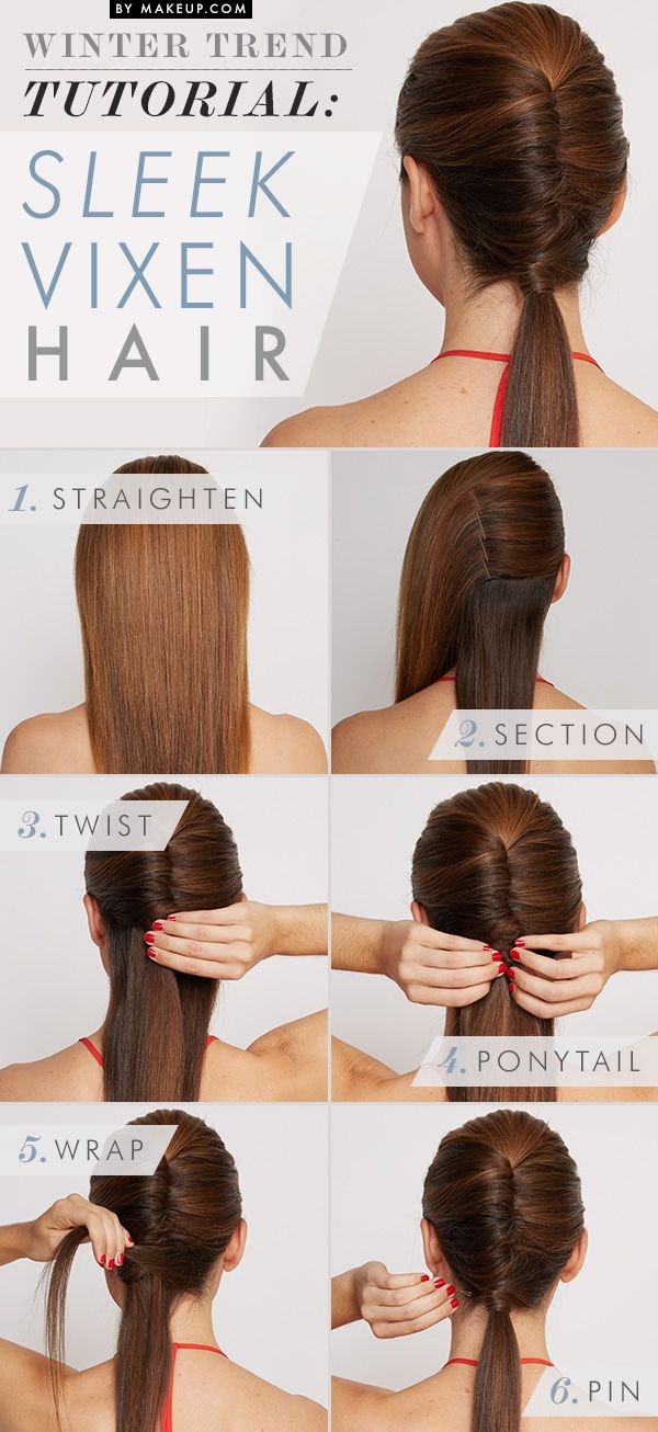 How to do a twisted ponytail // love this look!  I love this, but my hair is so thick that I don't know if I could pin it back like in the third step, it always falls out really fast when I try to do similar things.