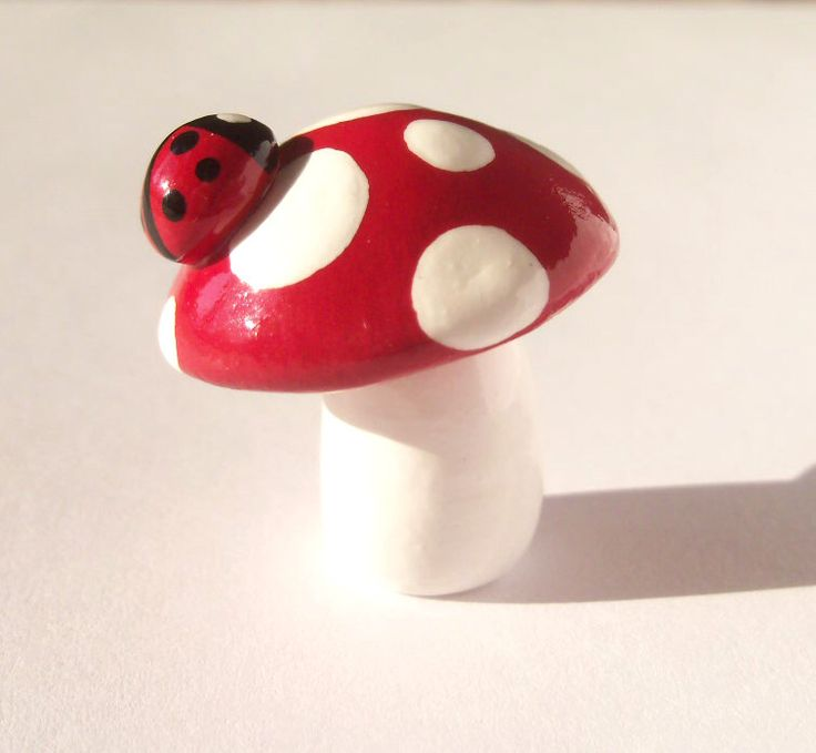 Miniature Ladybug and Mushroom Sculpture - OOAK Unique Polymer Clay Miniature Sculpture by MariposaMiniatures on Etsy https://www.etsy.com/listing/171153126/miniature-ladybug-and-mushroom-sculpture