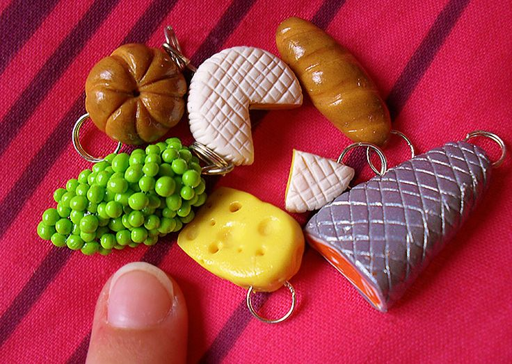 Charming fruit, cheese and fish charms. 1:12 scale, handmade from polymer clay by me at The Fairy Factoree: https://www.facebook.com/fairyfact?pnref=lhc