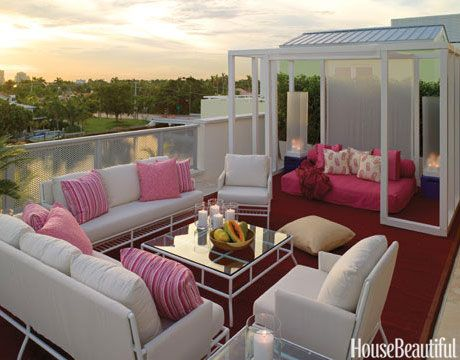 Glam Rooftop lounge area in pinks.  Outdoor Room Design Ideas - Photos of Outdoor Rooms - House Beautiful
