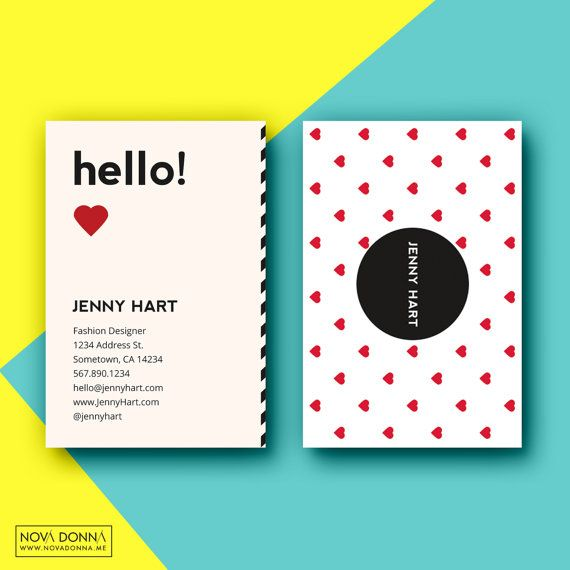 22 best business card template designs images on pinterest business card template designs customizable adobe photoshop format modern chic playful hearts wajeb