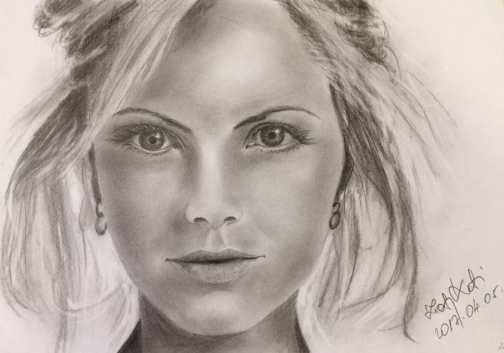 Jobb agyféltekés portré - Zsolnay Katalin rajza