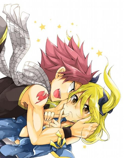 Lucy and Natsu (Nalu) From Fairy Tail.  Lucy makes me laugh :D
