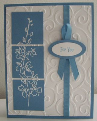 """Stamps:  Echoes of Kindness, Vintage Labels (sentiment) (Stampin' Up!)  Paper:  Marina Mist, Whisper White (Stampin' Up!)  Ink:  Marina Mist, Versamark (SU!)  Accessories & Tools:  Cuttlebug embossing folder, white embossing powder, heat tool, 1/4"""" Marina Mist grosgrain ribbon (approx. 12 """" - divided), small oval punch, medium oval punch, sticky strips, adhesives and dimensionals"""