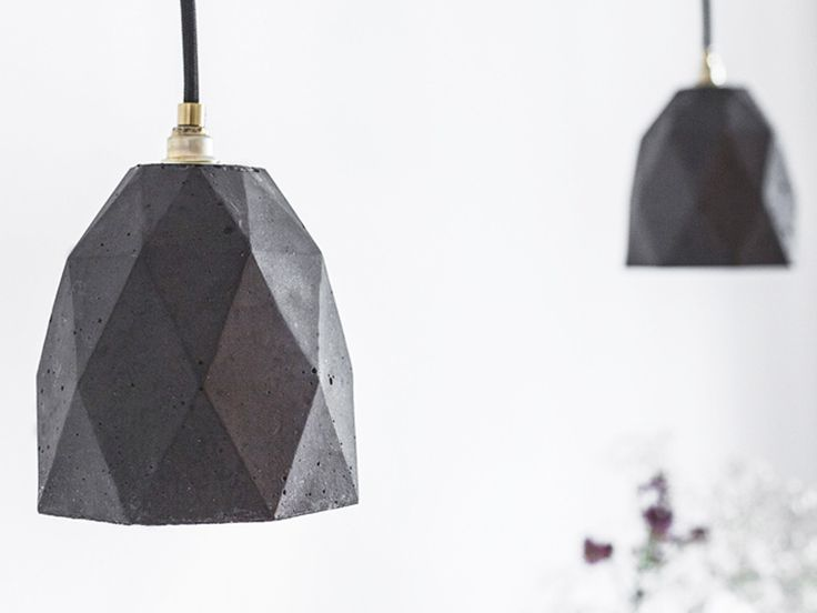 The honeycomb hanging lamp is cast from gray concrete. As seen on Channel 9's hit TV Show, The Block.