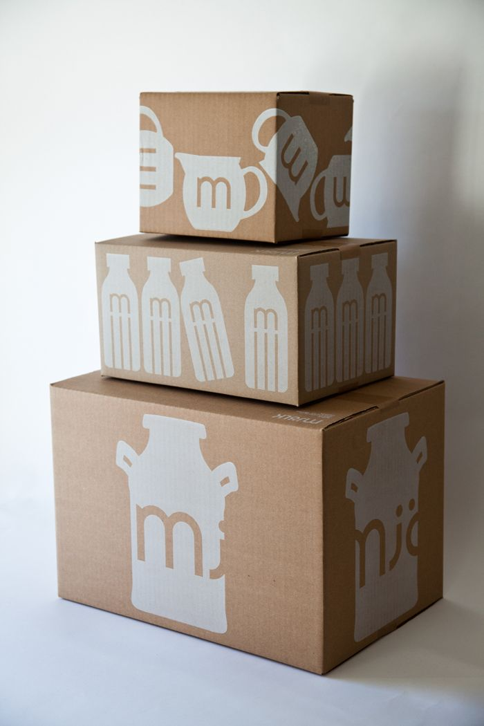 Mjölk -simple brown cardboard box, one color print, a very strong statement.