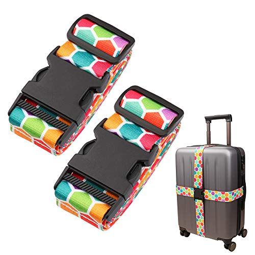 Adjustable Travel Luggage Strap Suitcase Belt Travel Bag Accessories 1.96 in W x 6.23 ft L 4Pack